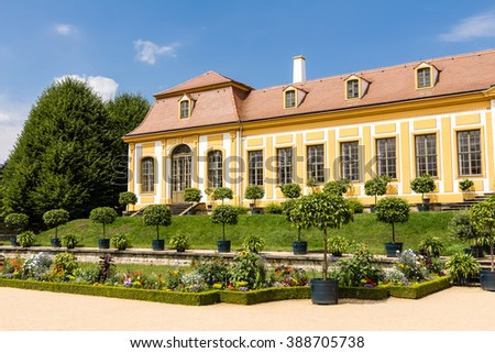 Baroque garden and Friedrich Palace in Grosssedlitz, Germany