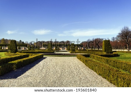 Baroque garden in Drottningholm Palace in Stockholm, Sweden - stock photo