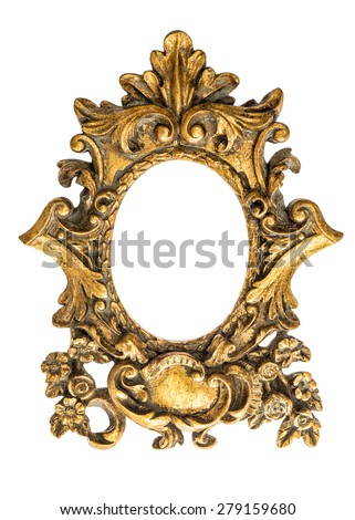 Baroque golden frame isolated on white background. Antique art object