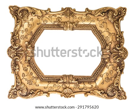 Baroque golden frame isolated on white background. Vintage style antique object - stock photo