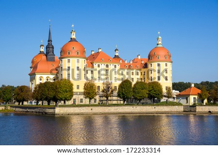 Baroque palace in Moritzburg, Saxon, Dresden - stock photo
