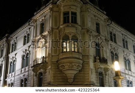 Baroque style building at night. - stock photo