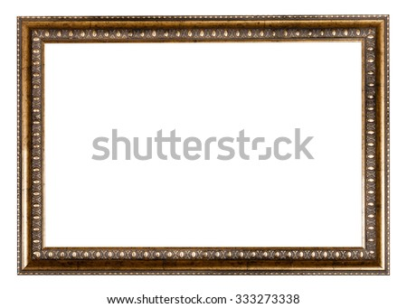 baroque style golden wooden picture frame with cut out blank space isolated on white background - stock photo