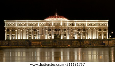 Baroque theater reflecting on the river
