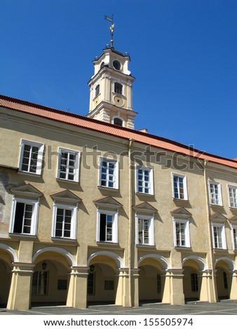 Baroque tower in Vilnius University, Lithuania - stock photo