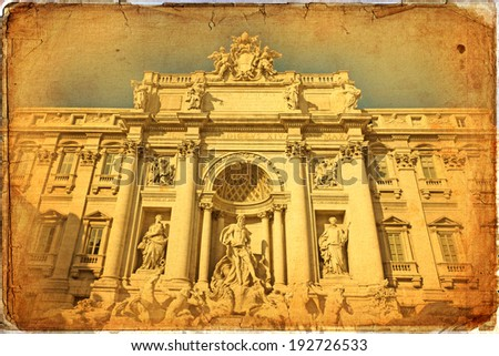 Baroque Trevi Fountain (Fontana di Trevi) in Rome