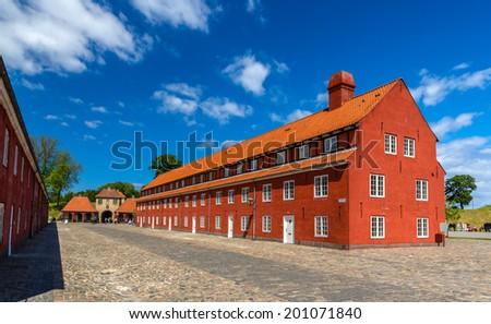 Barracks in Kastellet fortress, Copenhagen, Denmark - stock photo