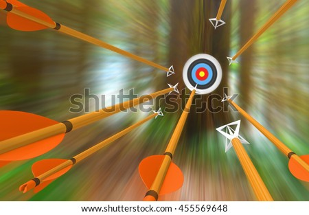 Barrage of arrows flying to an archery target in blurred motion, 3D rendering