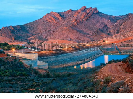 barrage Youssef Ibn Tachfin, Tinzit, Souss-Massa-Draa, Morocco - stock photo