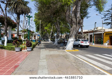 Barranco, Lima - May 10 : side street view of the main square in the Barranco District of Lima, Peru. May 10 2016 Barranco, Lima Peru.