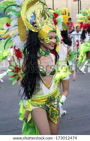 BARRANQUILLA, COLOMBIA - FEB 10: Carnaval del Bicentenario 200 years of Carnaval. February 10, 2013 Barranquilla Colombia  - stock photo