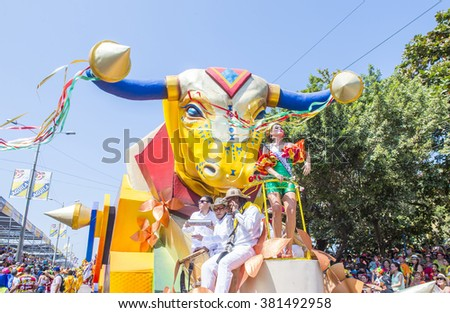 BARRANQUILLA , COLOMBIA - FEB 07 : Float parade in the Barranquilla Carnival in Barranquilla , Colombia on February 07 2016. Barranquilla Carnival is one of the biggest carnival in the world