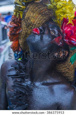 BARRANQUILLA , COLOMBIA - FEB 07 : Participant in the Barranquilla Carnival in Barranquilla , Colombia on February 07 2016. Barranquilla Carnival is one of the biggest carnivals in the world