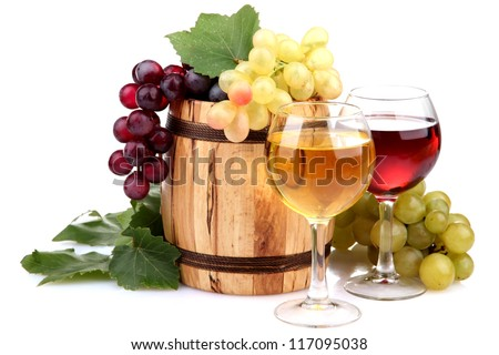 Barrel and glasses of wine and grapes, isolated on white - stock photo