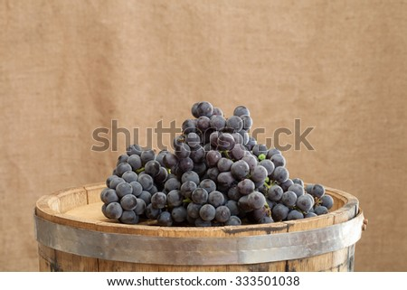 Barrel and ripe grapes of wine on burlap background. - stock photo