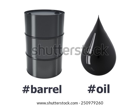 Barrel of oil and black oil drop on a white background.