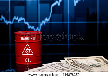 barrel of oil and dollar - stock photo