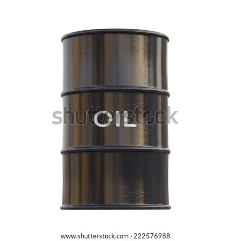 Barrel of oil on white background with clipping path. - stock photo