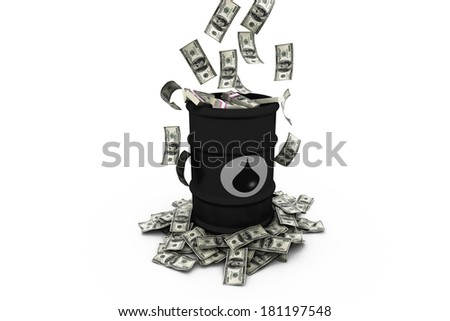 Barrel of oil with dollars - stock photo