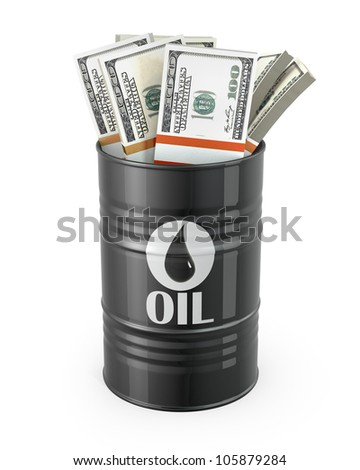 Barrel of oil with dollars inside, isolated on white background
