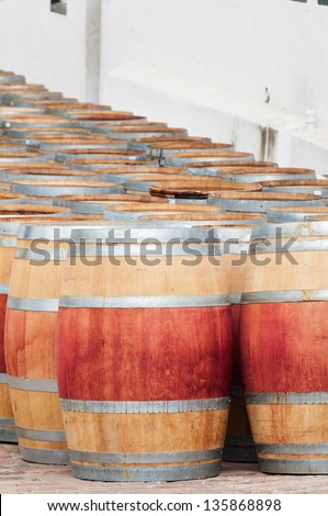 Barrel of wine in the harvest season ready to be filled, Stellenbosch, Western Cape, South Africa - stock photo