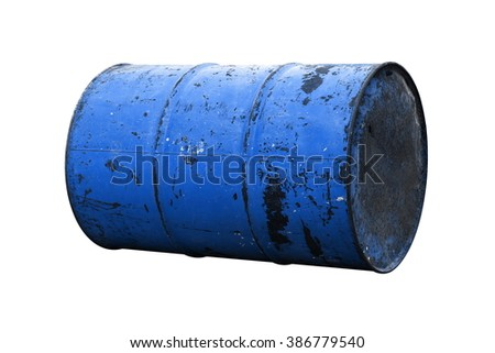 Barrel Oil blue dark Old isolated on background white - stock photo
