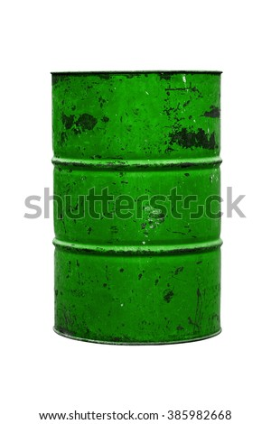 Barrel Oil green Old isolated on background white - stock photo