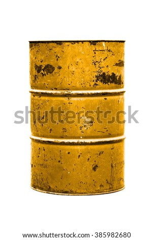 Barrel Oil yellow or gold Old isolated on background white - stock photo