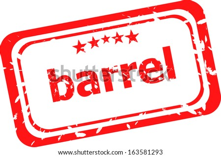 barrel on red rubber stamp over a white background, raster