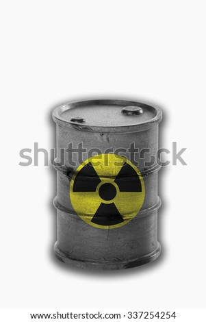 Barrel with sign of radioactivity on white background - stock photo