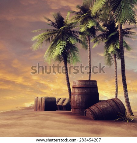 Barrels, crates and palm trees on a beach at sunset