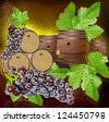 barrels grapes wine black leaves - stock photo