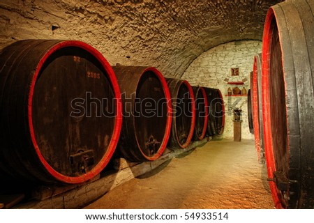 Barrels in a wine-cellar from Transylvania - stock photo