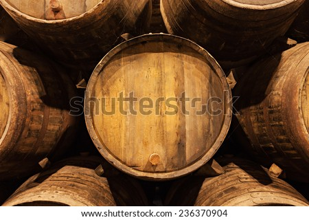 Barrels in the wine cellar, Porto, Portugal - stock photo