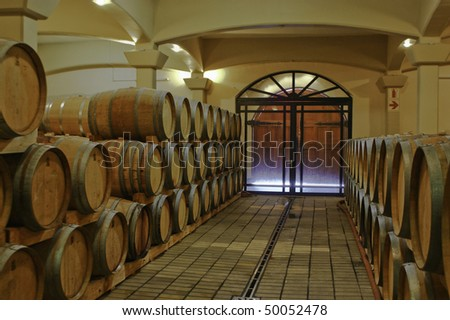 Barrels in the wine-cellar, South Africa - stock photo