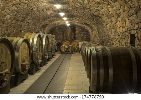 Barrels of wine in a rock cellar carved in a stone - stock photo