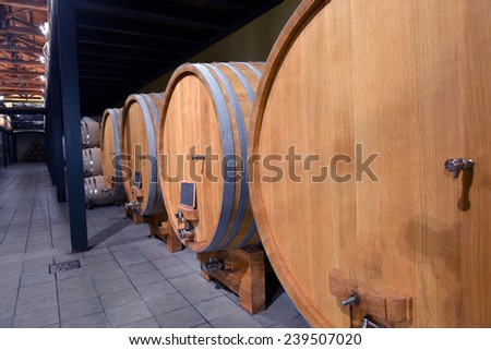 barrels of wine in the wine cellar - stock photo