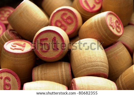 barrels, with the numbers to play lotto - stock photo