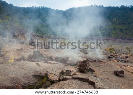 Barren bottom of Kilauea Crater with sulfur gas vents n Hawaii Volcanoes National Park, Big Island, Hawaii - stock photo