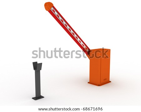 Barrier gate 3d rendering on white background