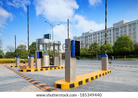 Barrier on the car parking - stock photo