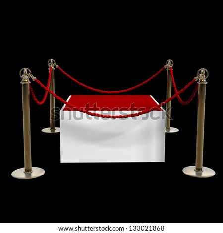 Barrier rope and red box isolated on black background High resolution 3D - stock photo