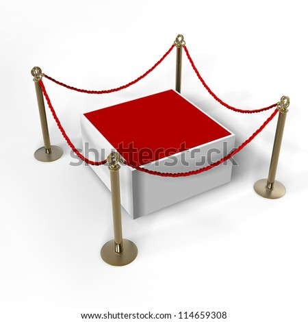 Barrier rope and red box isolated on white background High resolution 3D - stock photo