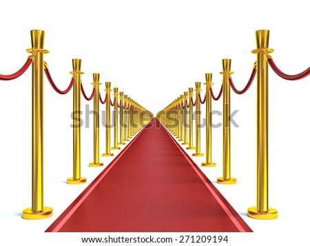 Barrier rope and red carpet - stock photo