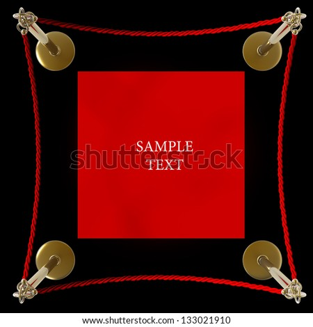 Barrier rope and red carpet isolated on black background High resolution 3D - stock photo