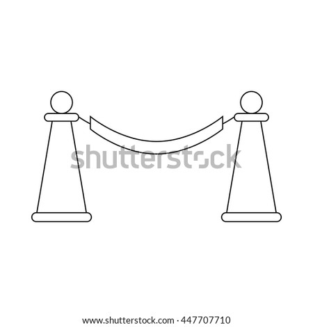 Barrier rope icon in outline style on a white background - stock photo