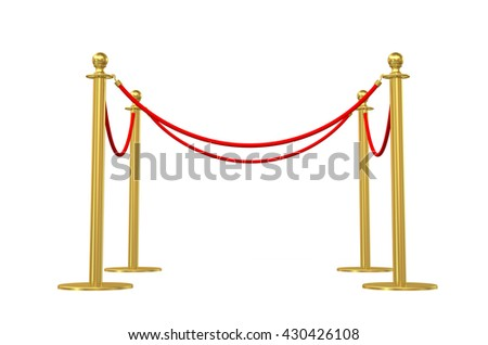 Barrier rope isolated on white. 3D illustration - stock photo
