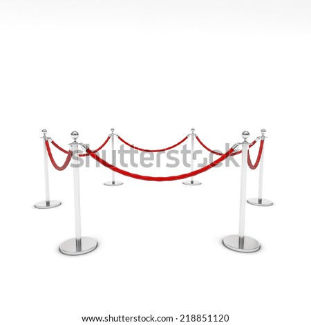 Barrier rope on white background
