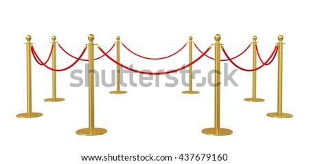 Barrier rope on white background. 3D illustration - stock photo