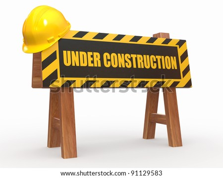 Barrier with text under construction and hardhat. 3d - stock photo